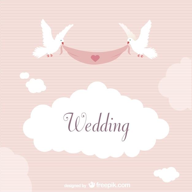 Etichetta wedding con le colombe Vettore gratuito