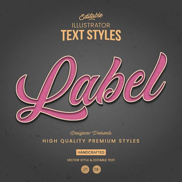Etichettare lo stile del testo di illustrator vintage Vettore Premium