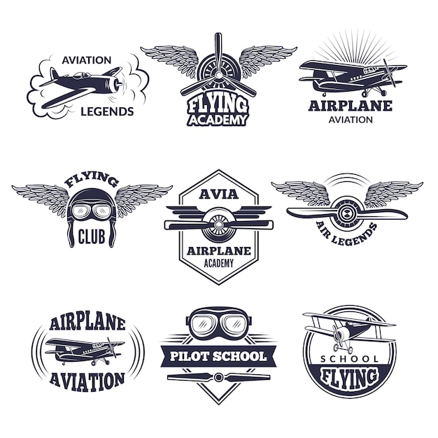 Etichette a tema di aerei. Vettore Premium
