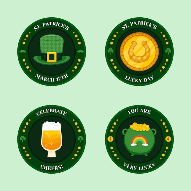 Etichette circolari di san patrizio con elementi tradizionali Vettore gratuito