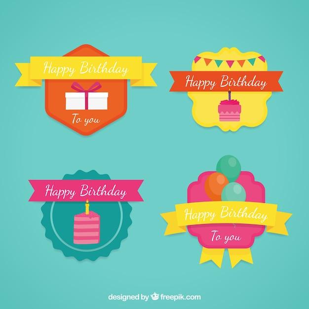 Etichette colorate di compleanno Vettore gratuito