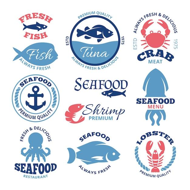 Etichette d'epoca di vettore di pesce nautico ed emblemi del ristorante. emblema dei frutti di mare per il ristorante, illustrazione del distintivo del pesce fresco del mercato Vettore Premium