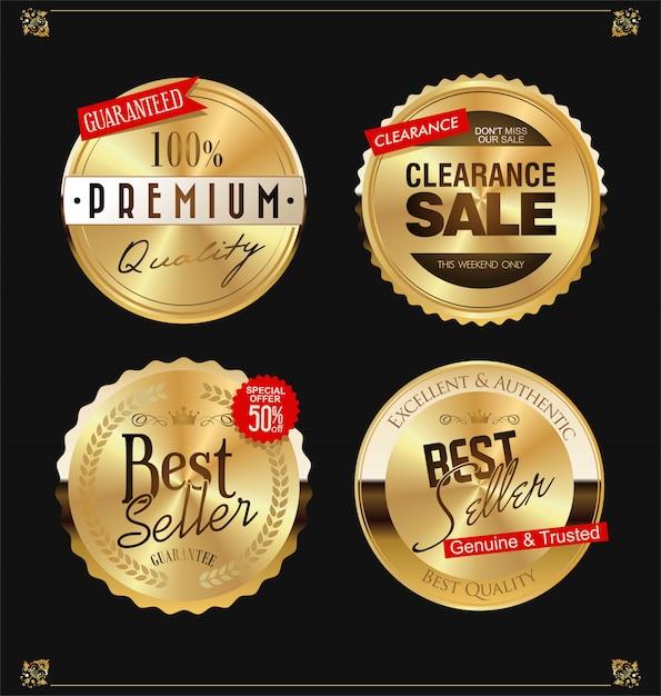 Etichette d'oro Vettore Premium