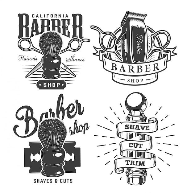 Etichette da barbiere vintage Vettore gratuito