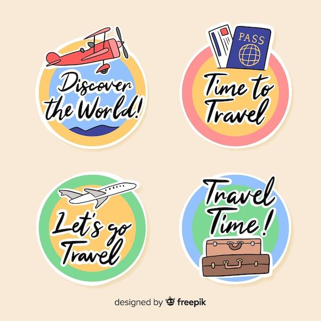 Etichette da viaggio cerchiate piatte Vettore gratuito