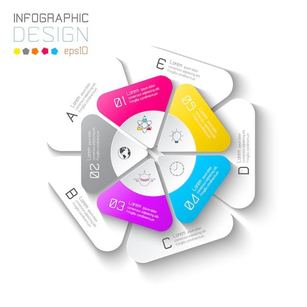 Etichette di affari infographic su barra di cerchi di due strati. Vettore Premium