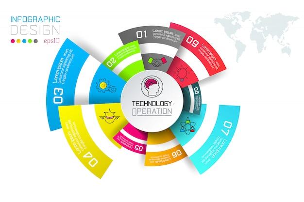 Etichette di affari infographic sulla barra dei cerchi. Vettore Premium
