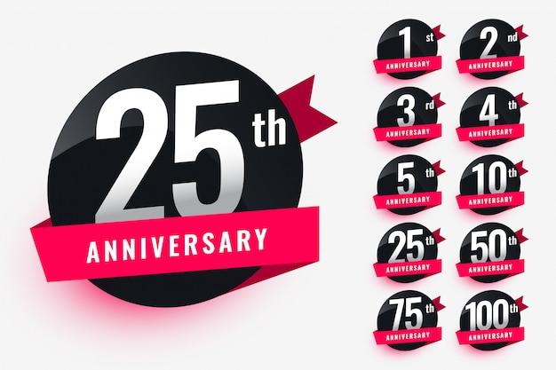 Etichette di anniversario nastro set design Vettore gratuito
