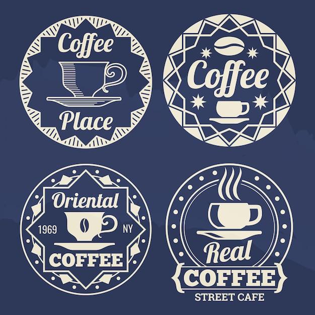 Etichette di caffè alla moda per caffè, negozio, mercato Vettore Premium