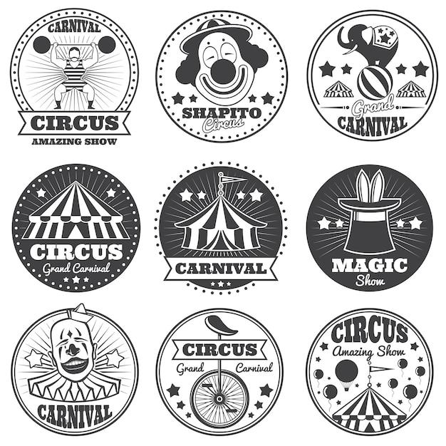 Etichette di circo magia vintage. distintivi e loghi vettoriali di carnevale Vettore Premium