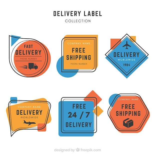 Etichette di consegna con stile artistico Vettore gratuito