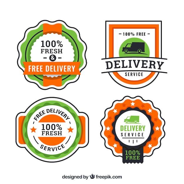 Etichette di consegna dell'annata con stile bello Vettore gratuito