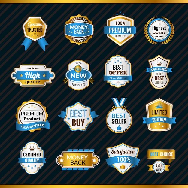 Etichette di lusso in oro e blu Vettore gratuito