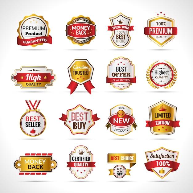 Etichette di lusso in oro e rosso Vettore gratuito