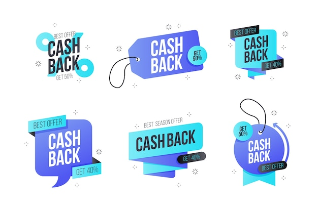 Etichette di marketing cashback Vettore gratuito