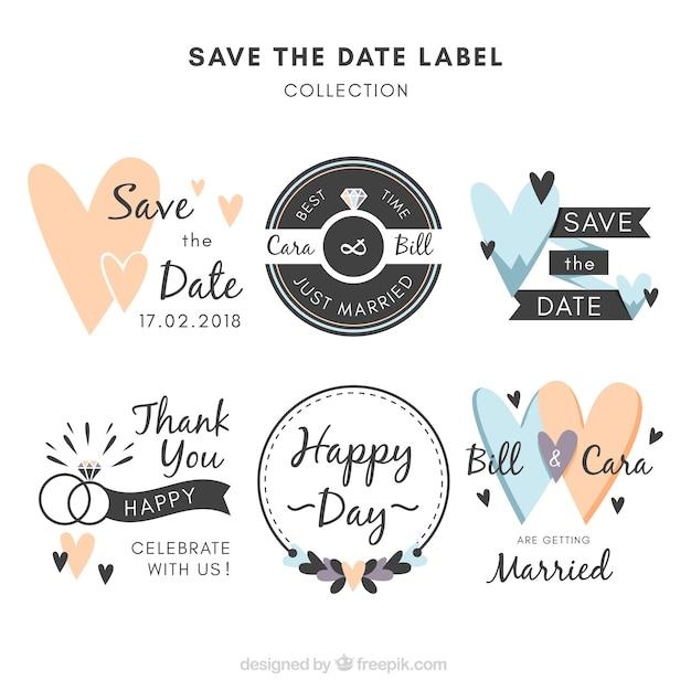Etichette di nozze con stile divertente Vettore gratuito