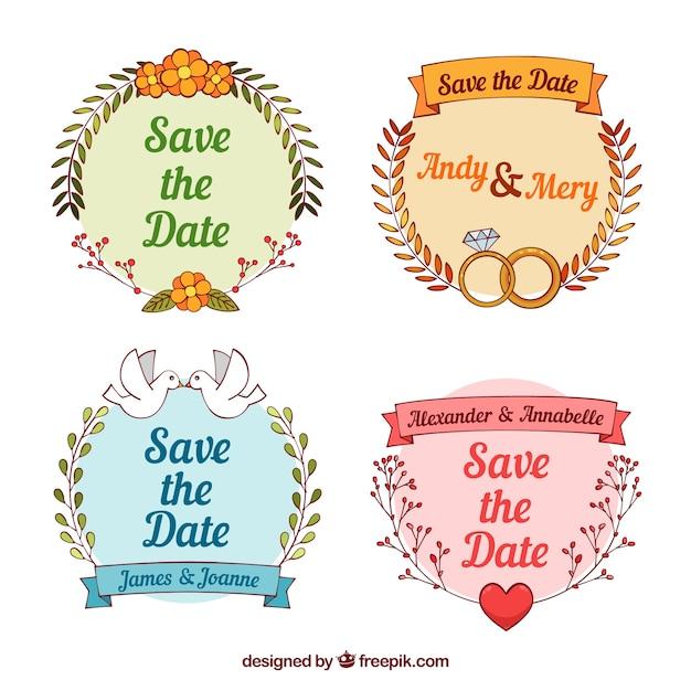 Etichette di nozze disegnate a mano con stile divertente Vettore gratuito