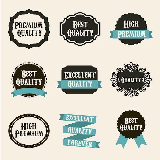 Etichette di qualità premium su sfondo beige Vettore Premium