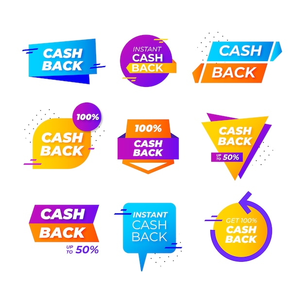 Etichette e badge cashback con forme geometriche Vettore gratuito