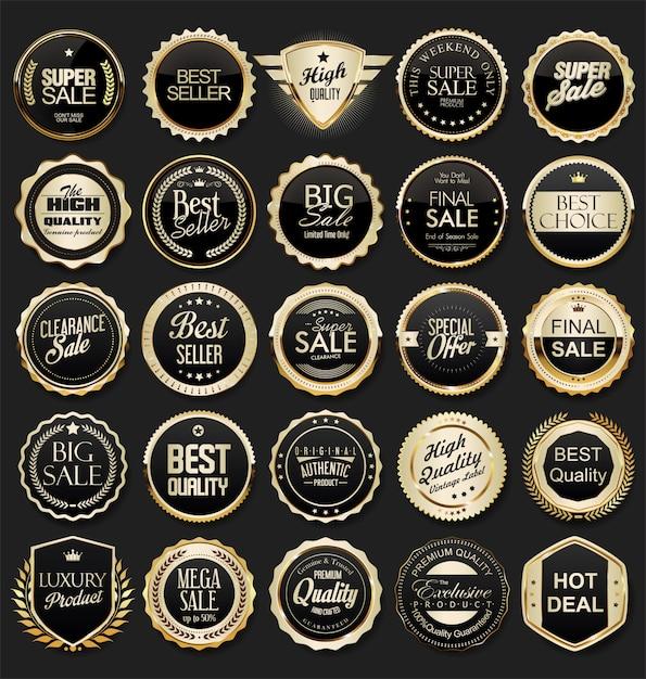 Etichette e distintivi dorati premium di lusso Vettore Premium