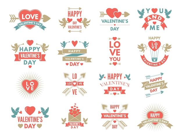 Etichette e simboli degli amori. immagini del giorno di san valentino per la progettazione di album Vettore Premium