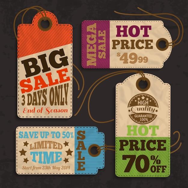Etichette ed etichette di acquisto per la migliore offerta di prezzi o illustrazione vettoriale della raccolta di promozioni di vendita speciale Vettore gratuito