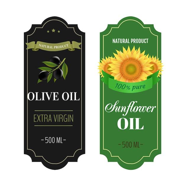 Etichette girasoli e oli di oliva bianchi Vettore Premium