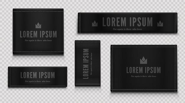 Etichette in tessuto nero per abbigliamento premium, etichette con marchio Vettore gratuito