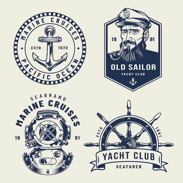 Etichette marine e monocromatiche vintage Vettore gratuito