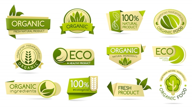 Etichette per alimenti biologici, prodotti ecologici e bio naturali Vettore Premium