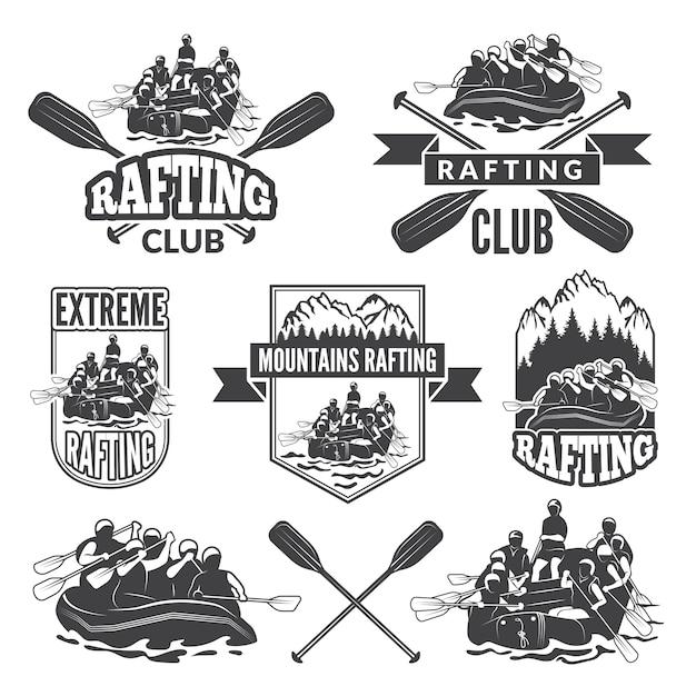 Etichette per club sportivi di sport acquatici estremamente pericolosi. Vettore Premium