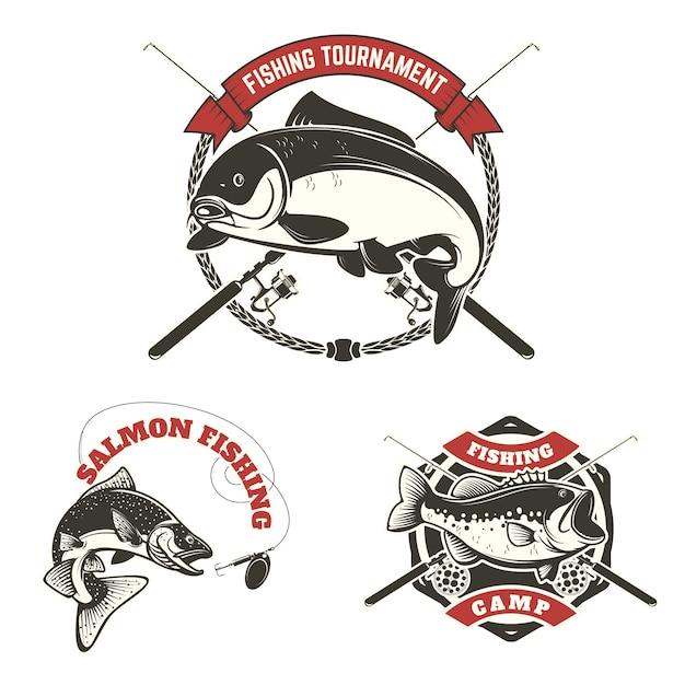 Etichette per tornei di pesca Vettore Premium