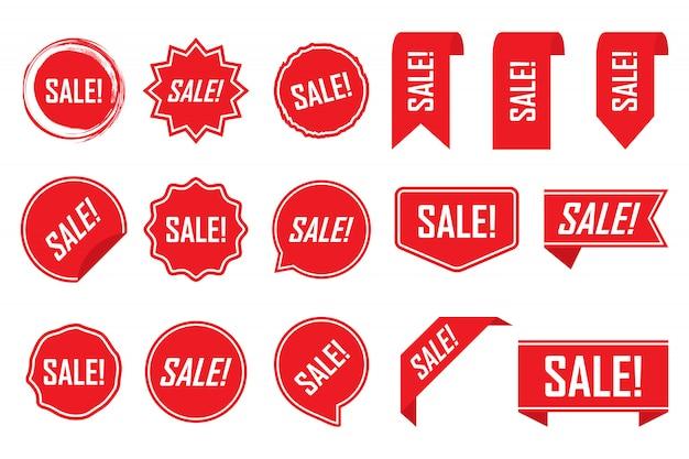 Etichette rosse o tag isolati Vettore Premium