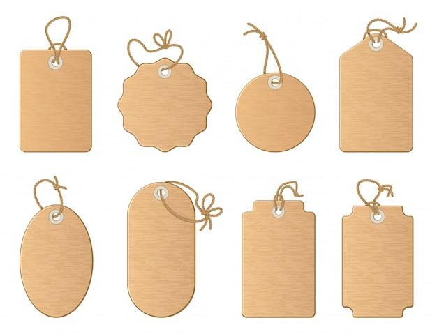 Etichette vuote differenti del negozio con il nastro di lino o il cavo di nodo. le illustrazioni del fumetto di vettore hanno messo l'isolato o Vettore Premium