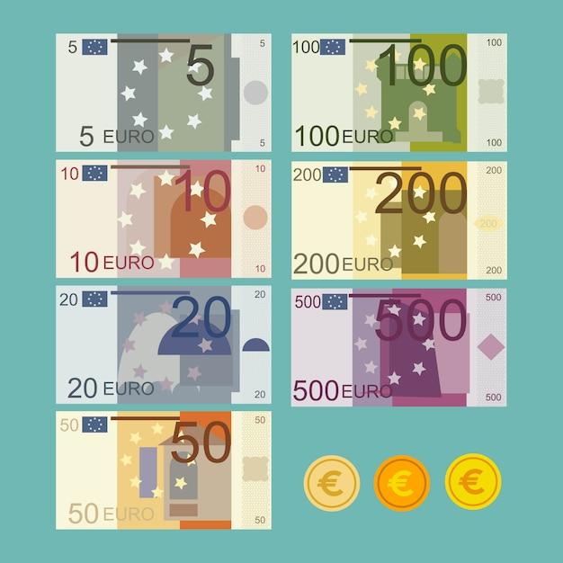 Euro illustrazione delle banconote in valuta in stile piano Vettore Premium