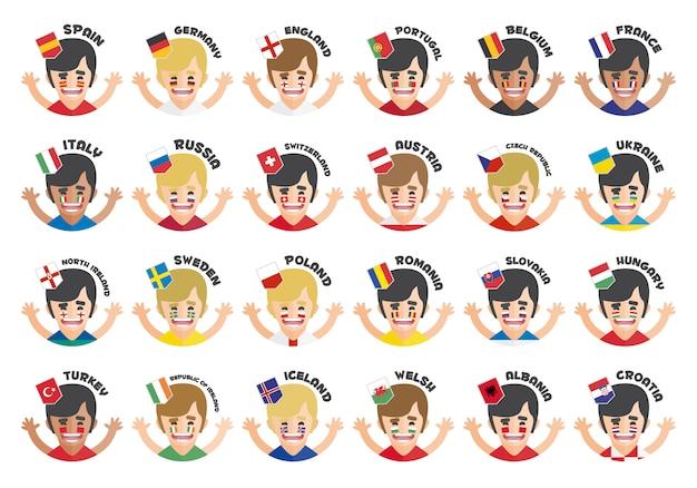 Eurocup avatar gruppo di raccolta Vettore gratuito