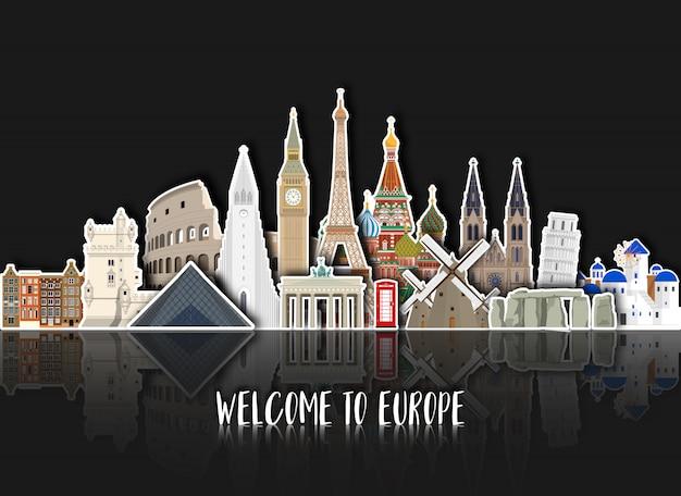 Europa famosa carta d'arte punto di riferimento Vettore Premium
