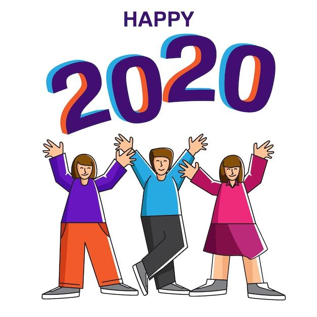 Eventi per feste per il nuovo anno 2020 Vettore Premium