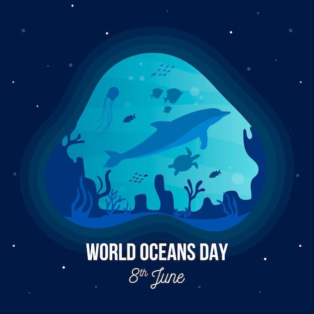 Evento del giorno degli oceani con delfini e tartarughe Vettore gratuito