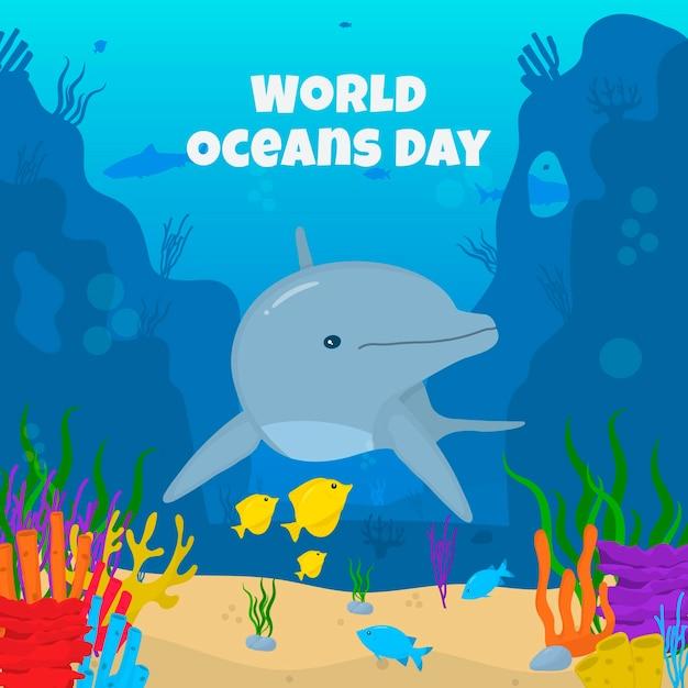 Evento del giorno degli oceani con i delfini Vettore gratuito