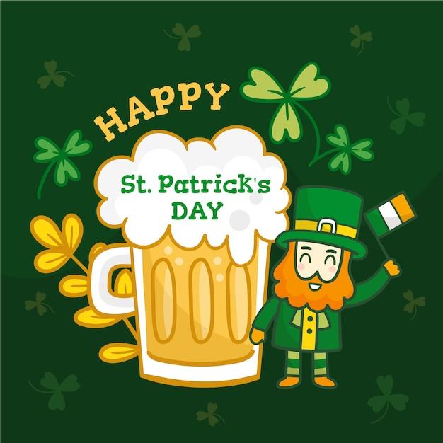 Evento del giorno di patrick con un grande sorso di birra Vettore gratuito