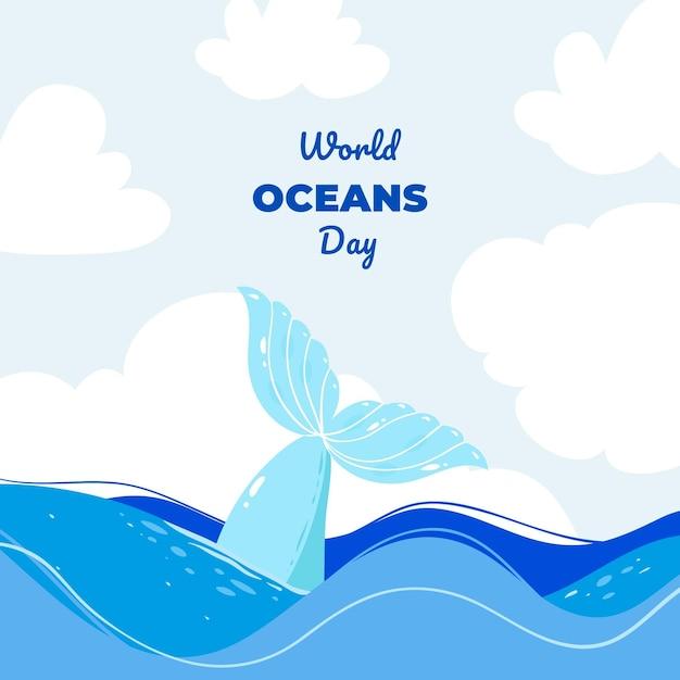 Evento della giornata mondiale degli oceani design piatto con scritte Vettore gratuito