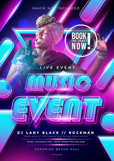 Evento musicale o festa poster con colori sfumati colorati Vettore gratuito