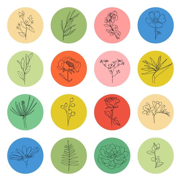 Evidenzia copertine di raccolta vettoriale forma del cerchio con elemento di pianta floreale all'interno, set di icone di storie di social media. varie forme, linee stile, adesivi doodle, logo grafico. modelli disegnati a mano. Vettore Premium