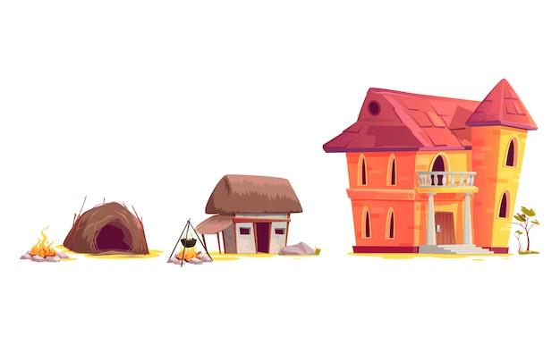 Evoluzione dell'architettura della casa Vettore gratuito