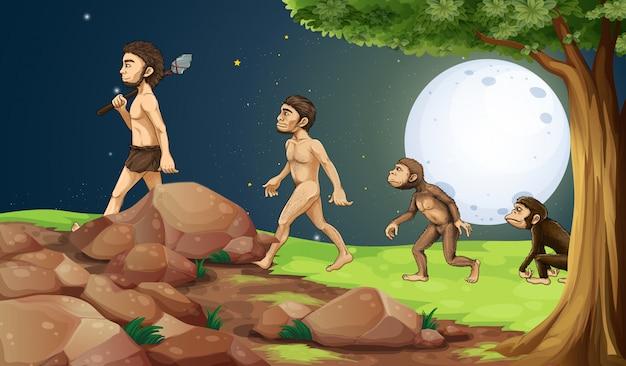 Evoluzione dell'uomo in cima alla collina Vettore gratuito
