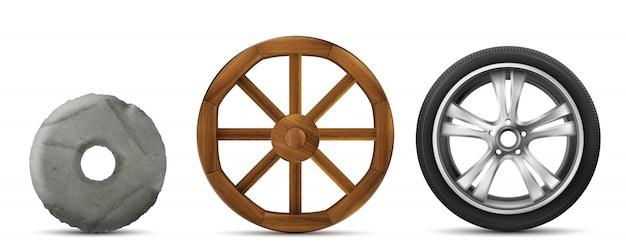Evoluzione delle ruote in pietra, legno e moderne Vettore gratuito