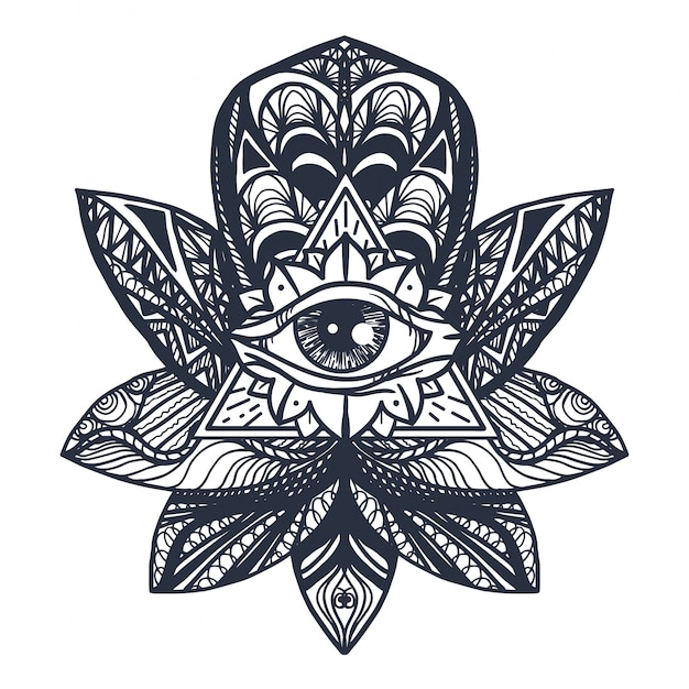 Eye on lotus tattoo Vettore Premium