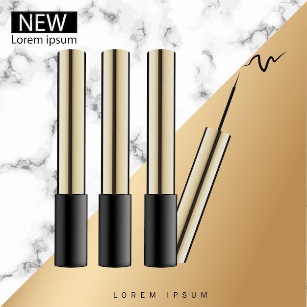 Eyeliner cosmetico con l'illustrazione di vettore di imballaggio con fondo di marmo. Vettore Premium