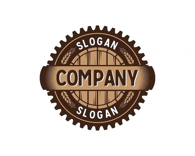 Fabbrica dell'ingranaggio del barilotto con frumento logo d'annata logo circle Vettore Premium